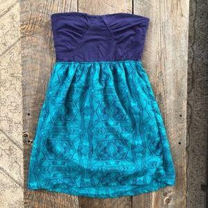 Roxy Strapless Summer Print Tube Top Dress Size M